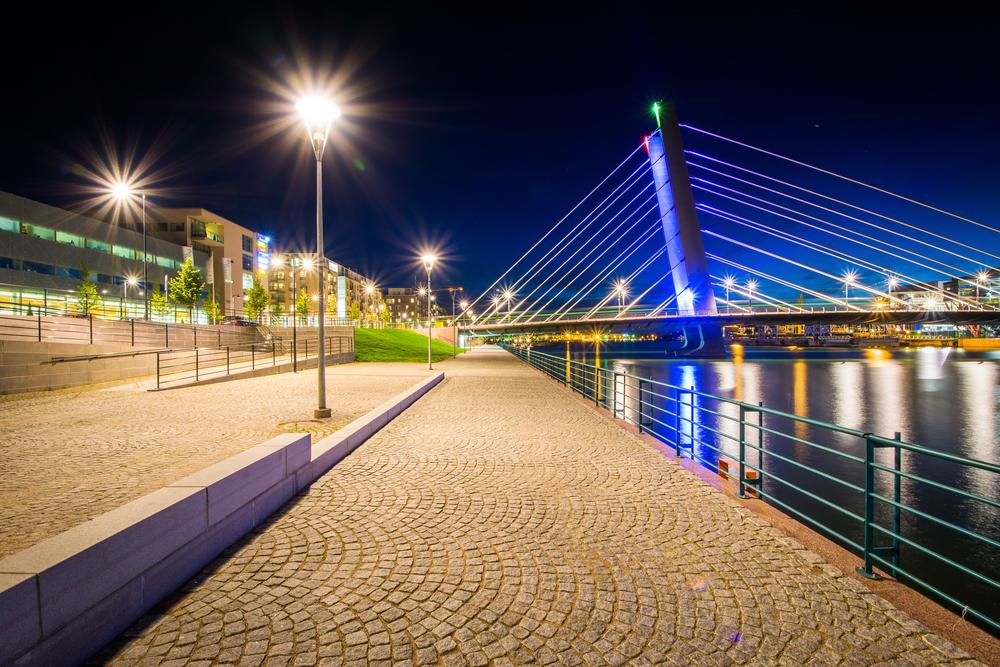 Crusell Bridge at night, over the Ruoholahti Canal, in Helsinki, Finland.