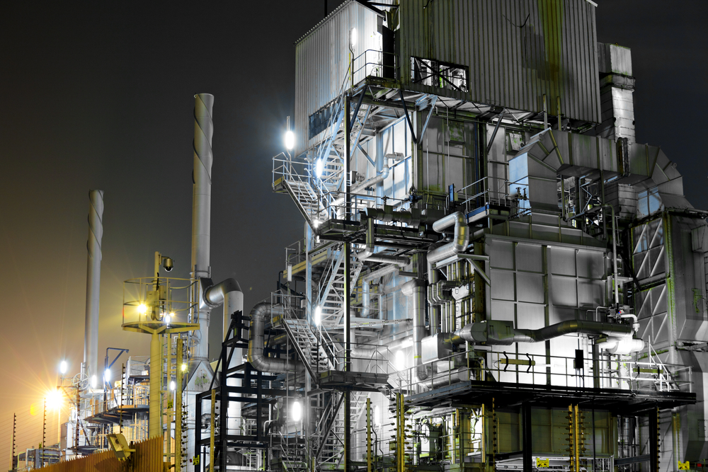 Industrial complex at night