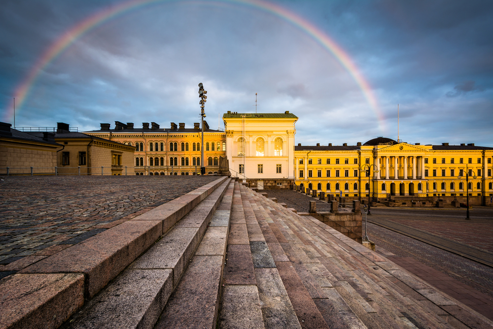 Rainbow over Senaatintori, Senate Square at sunset, in Helsinki, Finland.